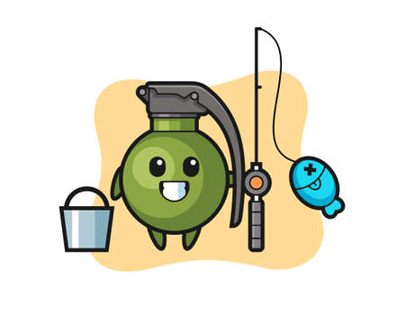 Mascot character of grenade as a fisherman, cute style design for t shirt, sticker, logo element