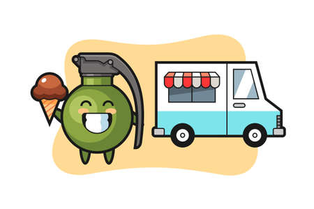 Mascot cartoon of grenade with ice cream truck, cute style design for t shirt, sticker, logo element