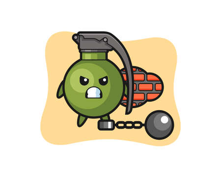 Character mascot of grenade as a prisoner, cute style design for t shirt, sticker, logo element