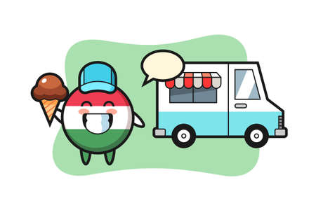 Mascot cartoon of hungary flag badge with ice cream truck , cute style design for t shirt, sticker, logo element