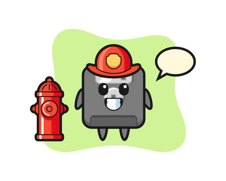 Mascot character of floppy disk as a firefighter , cute style design for t shirt, sticker, logo element