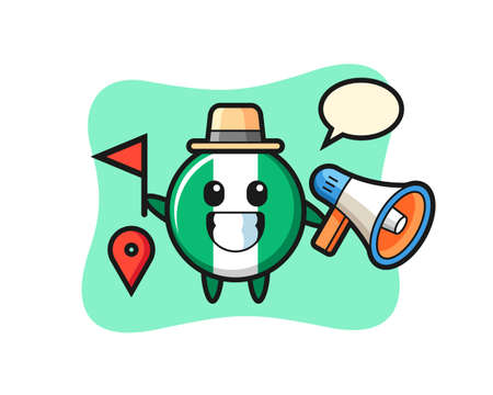 Character cartoon of nigeria flag badge as a tour guide , cute style design for t shirt, sticker, logo element