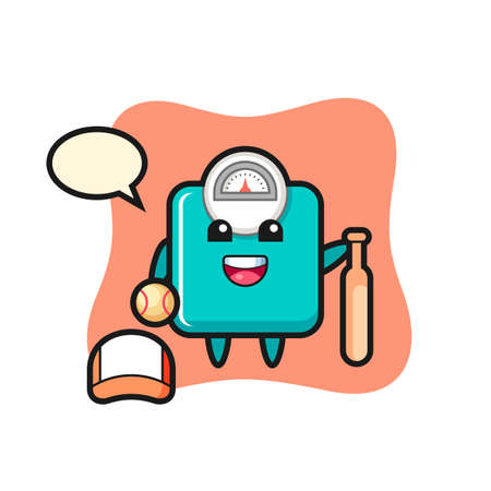 Cartoon character of weight scale as a baseball player , cute style design for t shirt, sticker, logo element