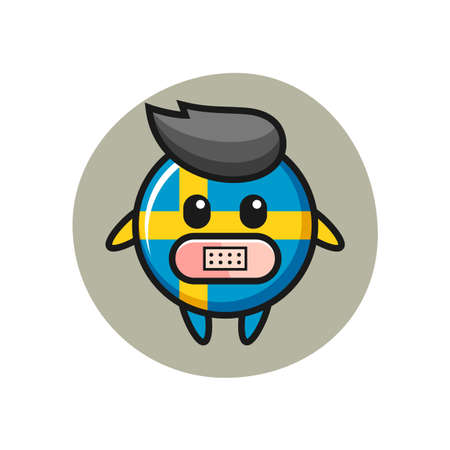 Cartoon Illustration of sweden flag badge with tape on mouth, cute style design for t shirt, sticker, logo element