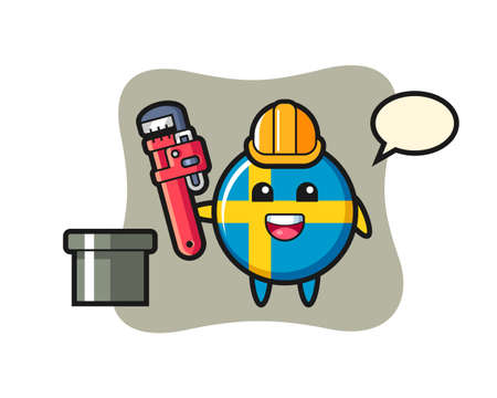 Character Illustration of sweden flag badge as a plumber, cute style design for t shirt, sticker, logo element