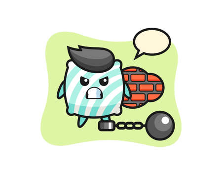 Character mascot of pillow as a prisoner , cute style design for t shirt, sticker, logo element