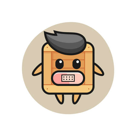 Cartoon Illustration of wooden box with tape on mouth , cute style design for t shirt, sticker, logo element