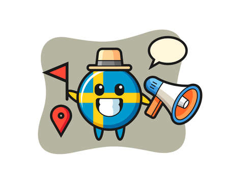 Character cartoon of sweden flag badge as a tour guide, cute style design for t shirt, sticker, logo element