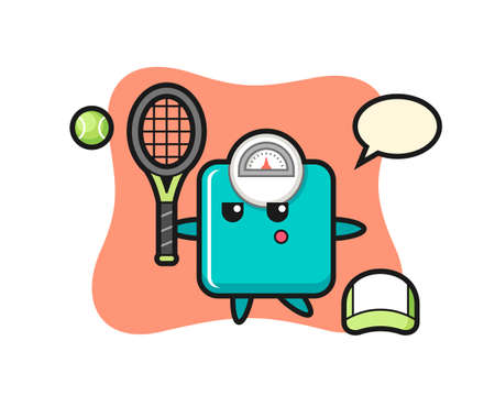 Cartoon character of weight scale as a tennis player , cute style design for t shirt, sticker, logo element