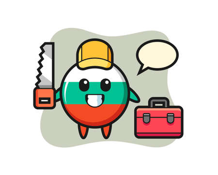 Illustration of bulgaria flag badge character as a woodworker , cute style design for t shirt, sticker, logo element
