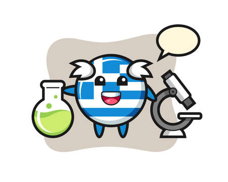 Mascot character of greece flag badge as a scientist , cute style design for t shirt, sticker, logo element