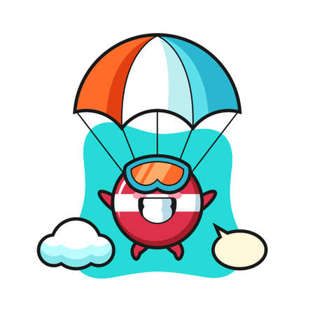 latvia flag badge mascot cartoon is skydiving with happy gesture , cute style design for t shirt, sticker, logo element
