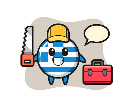 Illustration of greece flag badge character as a woodworker , cute style design for t shirt, sticker, logo element