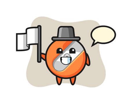 Cartoon character of pencil sharpener holding a flag Ilustración de vector