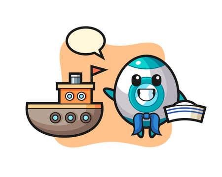 Character mascot of rocket as a sailor man , cute style design for t shirt, sticker, logo element Logó