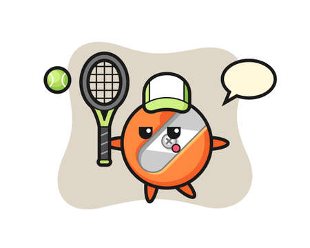 Cartoon character of pencil sharpener as a tennis player