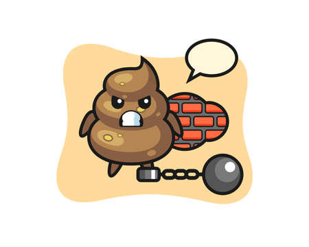 Character mascot of poop as a prisoner , cute style design for t shirt, sticker, logo element Logo