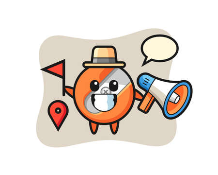 Character cartoon of pencil sharpener as a tour guide Ilustración de vector