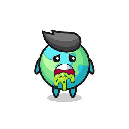 the cute earth character with puke , cute style design for t shirt, sticker, logo element