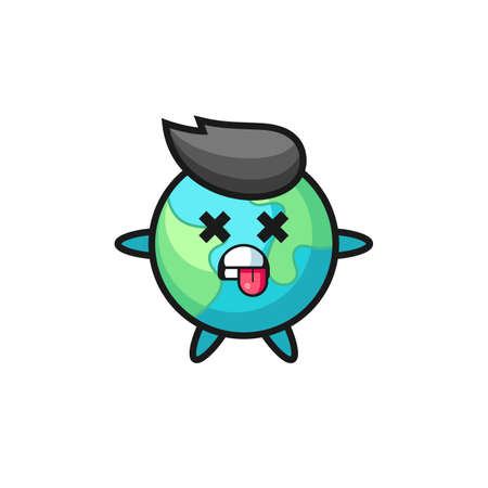 character of the cute earth with dead pose , cute style design for t shirt, sticker, logo element
