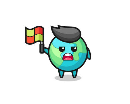 earth character as line judge putting the flag up , cute style design for t shirt, sticker, logo element Logo