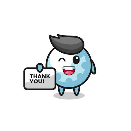 the mascot of the golf holding a banner that says thank you , cute style design for t shirt, sticker, logo element
