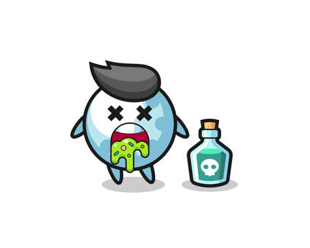 illustration of an golf character vomiting due to poisoning , cute style design for t shirt, sticker, logo element Logo