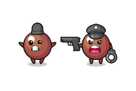 illustration of chocolate ball robber with hands up pose caught by police , cute style design for t shirt, sticker, element