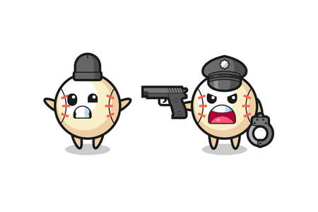 illustration of baseball robber with hands up pose caught by police , cute style design for t shirt, sticker, element
