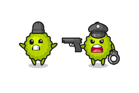 illustration of durian robber with hands up pose caught by police , cute style design for t shirt, sticker, element Ilustração Vetorial