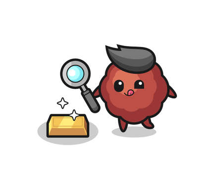 meatball character is checking the authenticity of the gold bullion , cute style design for t shirt, sticker, element