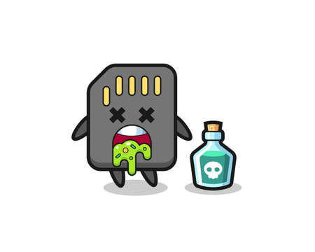 illustration of an sd card character vomiting due to poisoning , cute style design for t shirt, sticker, element