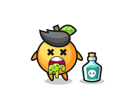 illustration of an orange fruit character vomiting due to poisoning , cute style design for t shirt, sticker, element