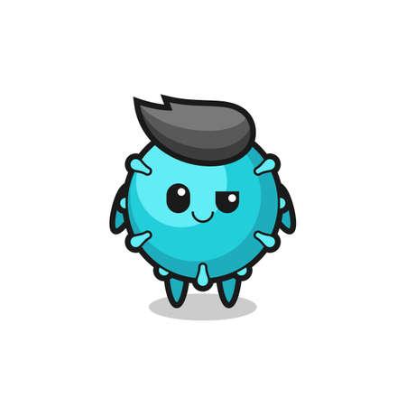 virus cartoon with an arrogant expression , cute style design for t shirt, sticker, element