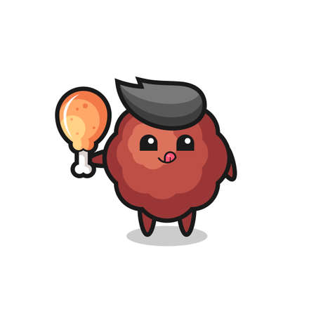meatball cute mascot is eating a fried chicken , cute style design for t shirt, sticker, element