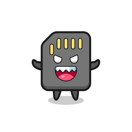 illustration of evil sd card mascot character , cute style design for t shirt, sticker, element
