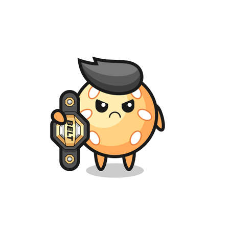 sesame ball mascot character as a MMA fighter with the champion belt , cute style design for t shirt, sticker, element