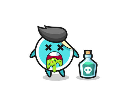 illustration of an sticker character vomiting due to poisoning , cute style design for t shirt, sticker, element