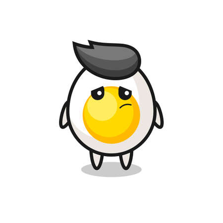 the shocked face of the cute boiled egg mascot , cute style design for t shirt, sticker, logo element Logo