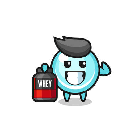 the muscular bubble character is holding a protein supplement , cute style design for t shirt, sticker, logo element