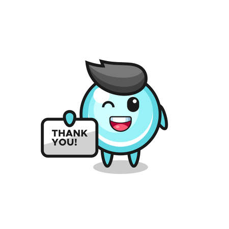 the mascot of the bubble holding a banner that says thank you , cute style design for t shirt, sticker, logo element