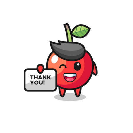 the mascot of the cherry holding a banner that says thank you , cute style design for t shirt, sticker, logo element