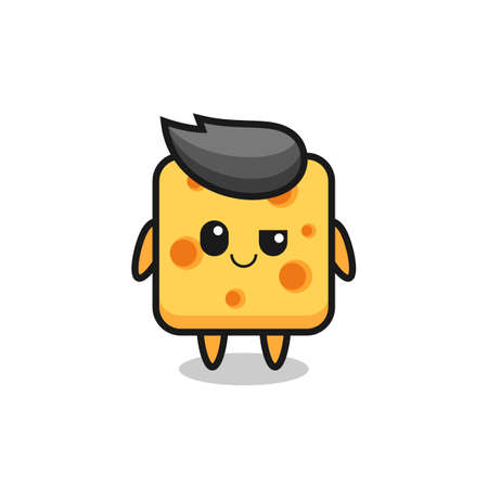cute cheese mascot with an optimistic face , cute style design for t shirt, sticker, logo element