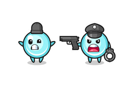 illustration of bubble robber with hands up pose caught by police , cute style design for t shirt, sticker, logo element