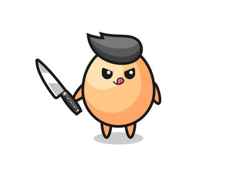 cute egg mascot as a psychopath holding a knife , cute style design Vektorové ilustrace