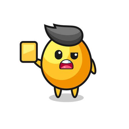 cartoon golden egg character as a football referee giving a yellow card , cute style design Ilustración de vector