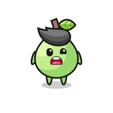 the shocked face of the cute guava mascot , cute style design for t shirt, sticker, logo element Logo