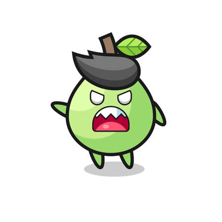 cute guava cartoon in a very angry pose , cute style design for t shirt, sticker, logo element Logo