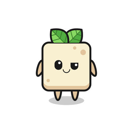 tofu cartoon with an arrogant expression , cute style design for t shirt, sticker, logo element