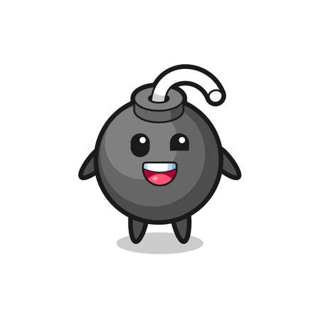illustration of an bomb character with awkward poses , cute style design for t shirt, sticker, logo element Logo